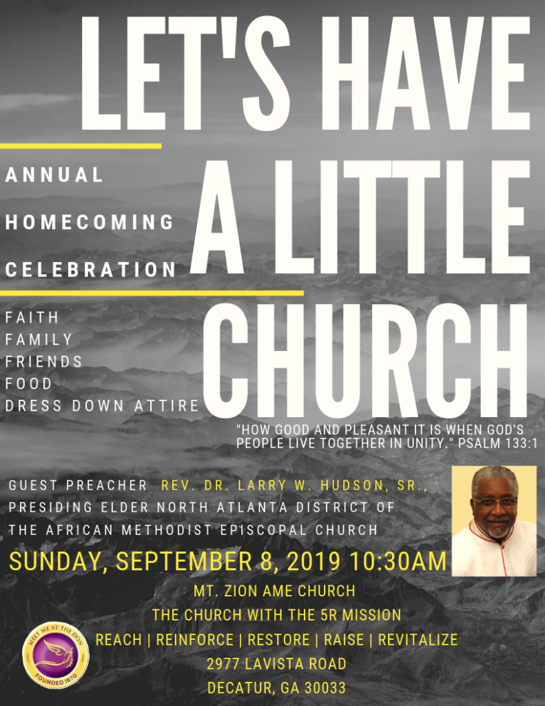 Mt Zion Decatur 2019 - Annual Homecoming Celebration