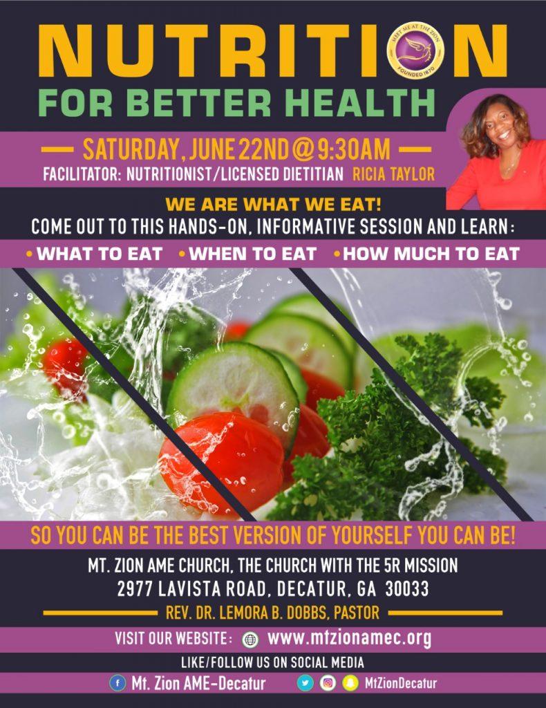 Mt Zion Decatur 2019 - Nutrition for Better Health